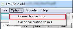 LMS7002 GUI showing ConnectingSettings option